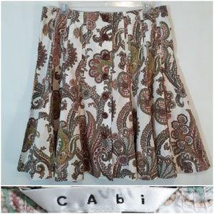 CAbi Lace Trim Paisley Skirt